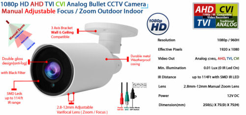 Outdoor CCTV Security Camera 1080p AHD TVI CVI Night Vision Adjustable Zoom
