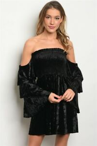 NEW-Skylar-Madison-Black-Velvet-Off-The-Shoulder-Bell-Sleeve-Dress-pick-S-M-L