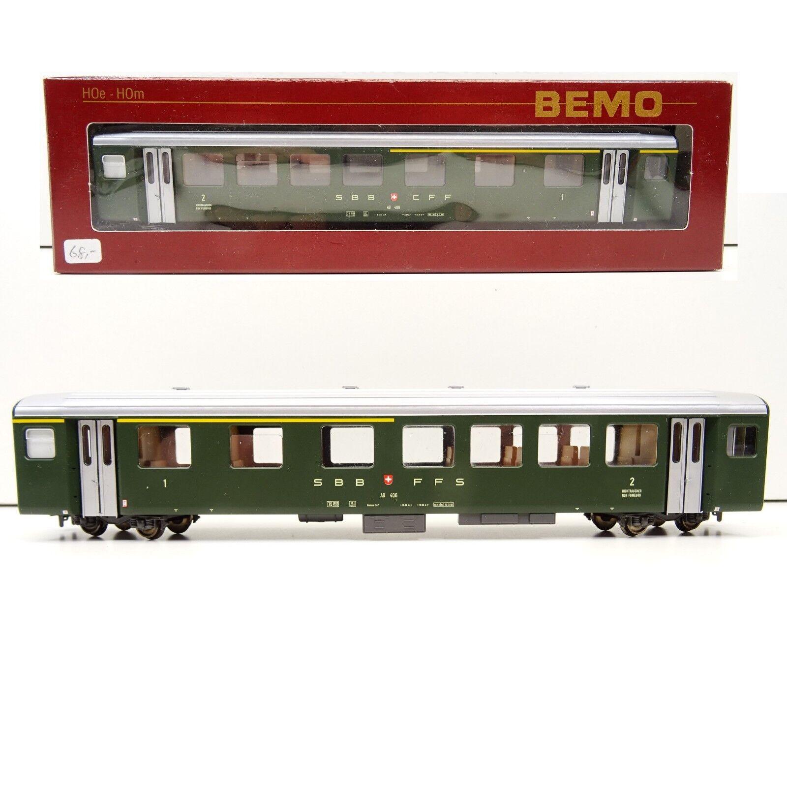 BEMO h0m carreggiata stretta 3277 416 vetture passeggeri SBB 1. 2. CLASSE TOP Scatola Originale c3512