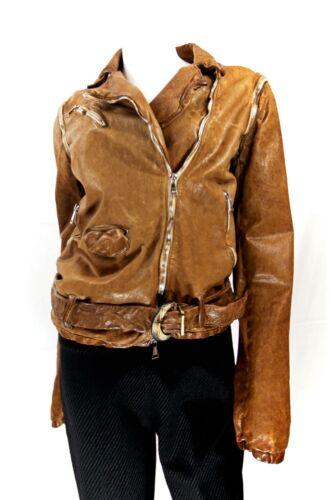 Giorgio Brato Lt. Brown Belt Zipper Leather Jacket