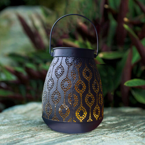 Hollowed Gift Hanging Lamp Solar Lantern Home Decoration With Handle Iron Art