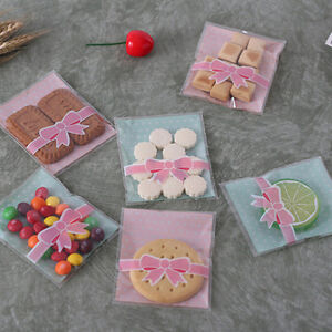 8*10CM Bowknot Cookie Packaging Lace Candy Self-Adhesive Plastic Bag& PL