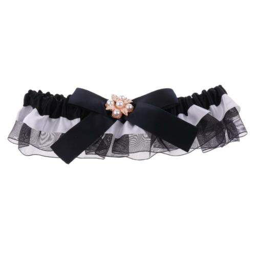 Wedding Bridal Lace Garter with Pearl Crystal Bow Navy Blue//Black//White