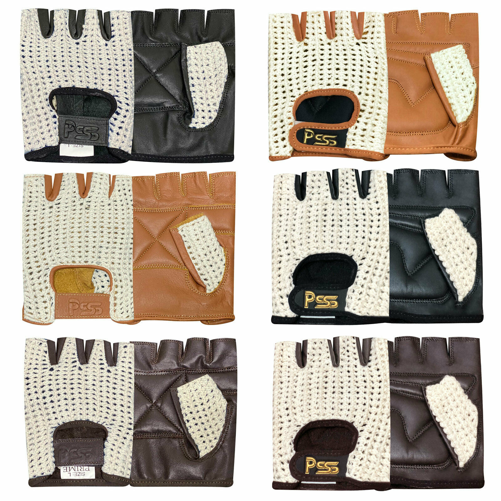 Wheelchair Bus Driving Gloves 416 Real COW Leather Fingerless Mesh Net Cycling