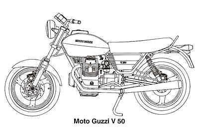 moto guzzi v50 vintage motorcycle drawing poster print