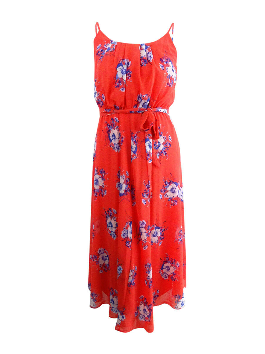 Robbie Bee Women's Petite Belted Floral-Print Maxi Dress (12P, Red bluee)