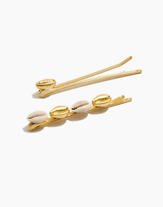 Madewell-Cowrie-Shell-Hair-Pins-Gold-plated-Brass-Cowrie-Shells-NWT