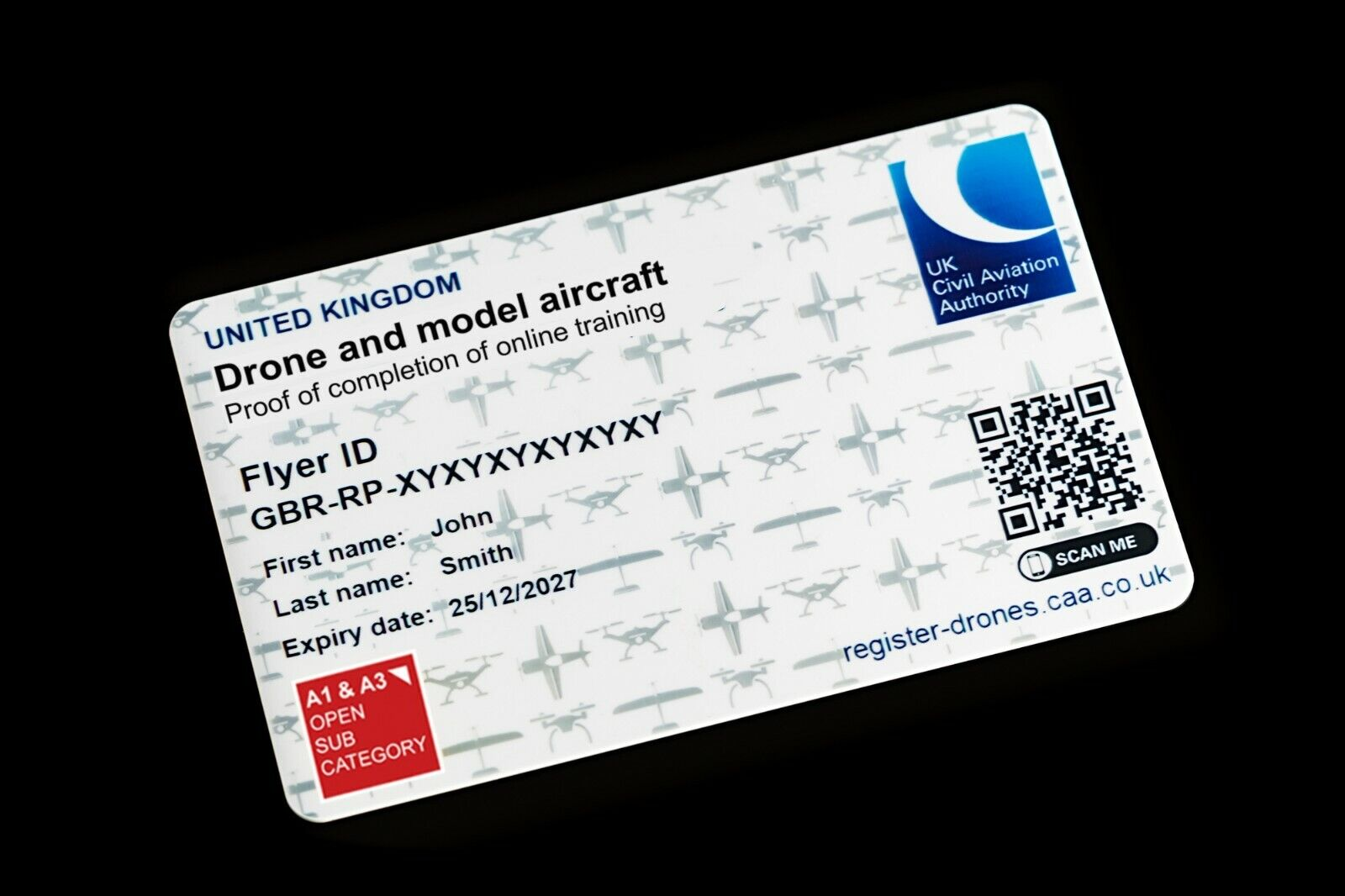DMARES Drone and Model Aircraft ID Card - Printed and posted same day.