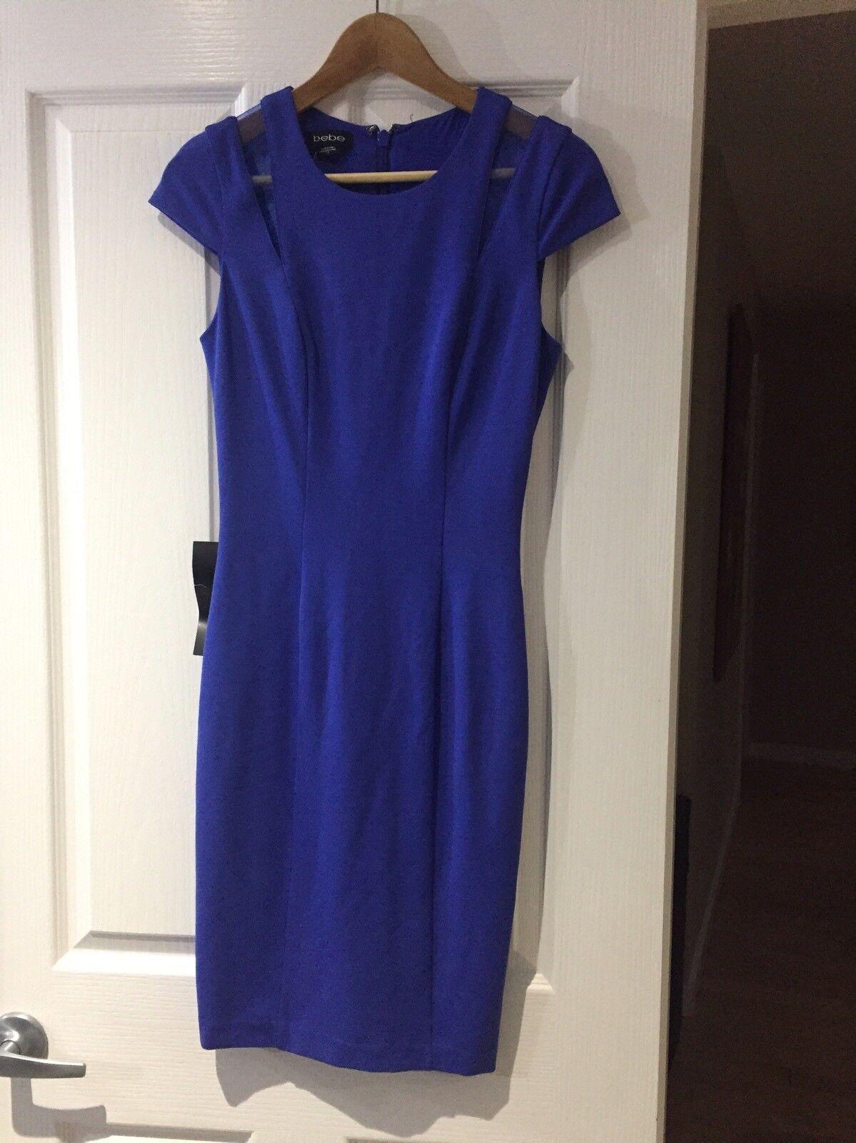 Bebe Ponte bluee Midi Dress W Organza Inset Size S