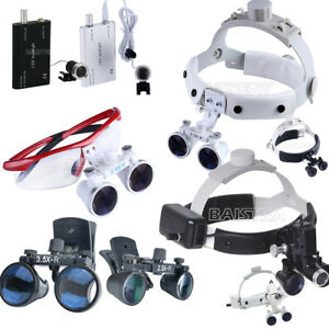 Dental-Portable-Magnifier-Surgical-Medical-Binocular-Loupes-LED-Head-Light-lamp