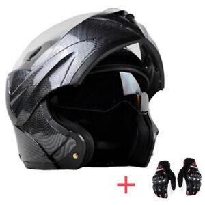 Motorcycle Bluetooth Helmet Modular Flip Up Full Face Dual Visor Carbon Fiber