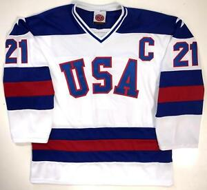 Image is loading MIKE-ERUZIONE-USA-HOCKEY-PREMIER-WHITE-JERSEY-1980- a182d4f8f