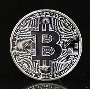Plated Silver Bitcoin Coin Collectible BTC Coin Art Collection Gift Physical ^^