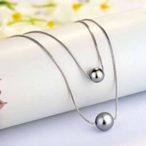 Femmes charme fashion noir blanc double Pearl Deux Chaîne Collier Pendentif
