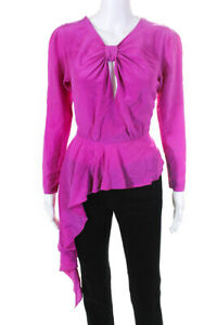 DELFI Collective Womens Tie V Neck Lana Blouse Pink Size Small 11362832