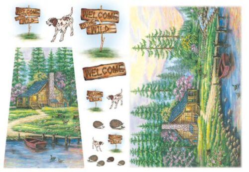 Papier de riz DFS072 Paysage Forêt Lac Rice Paper Forest Landscape serviette