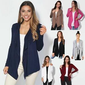 Womens-Cardigan-Long-Sleeve-Open-Front-Waterfall-Thin-Knitted-Asymmetric-Hem