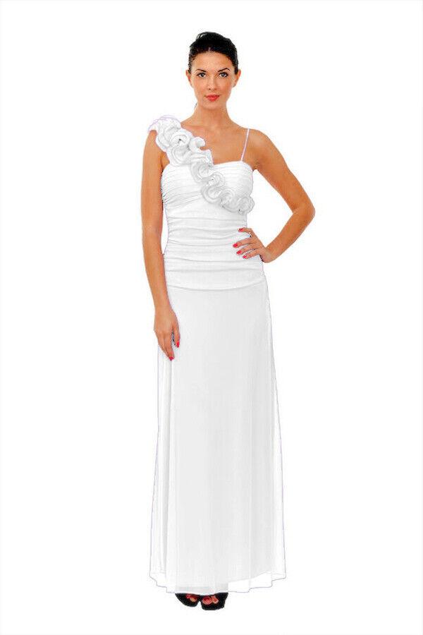 Brautkleid Standesamtkleid Hochzeitskleid Abi-Ballkleid Abendkleid lang weiß 36