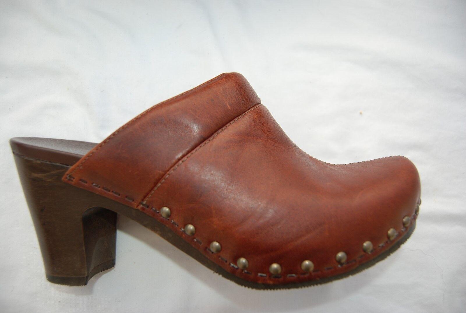 Dark Brown Leather DANSKO Backless Tall Clog Heels w/Studs US 7.5 - 8