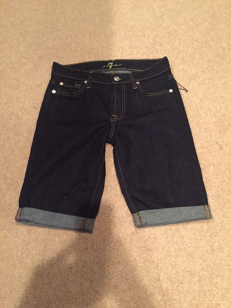 7 For All Mankind Cuffed Dark Denim Shorts Size 24 NWT