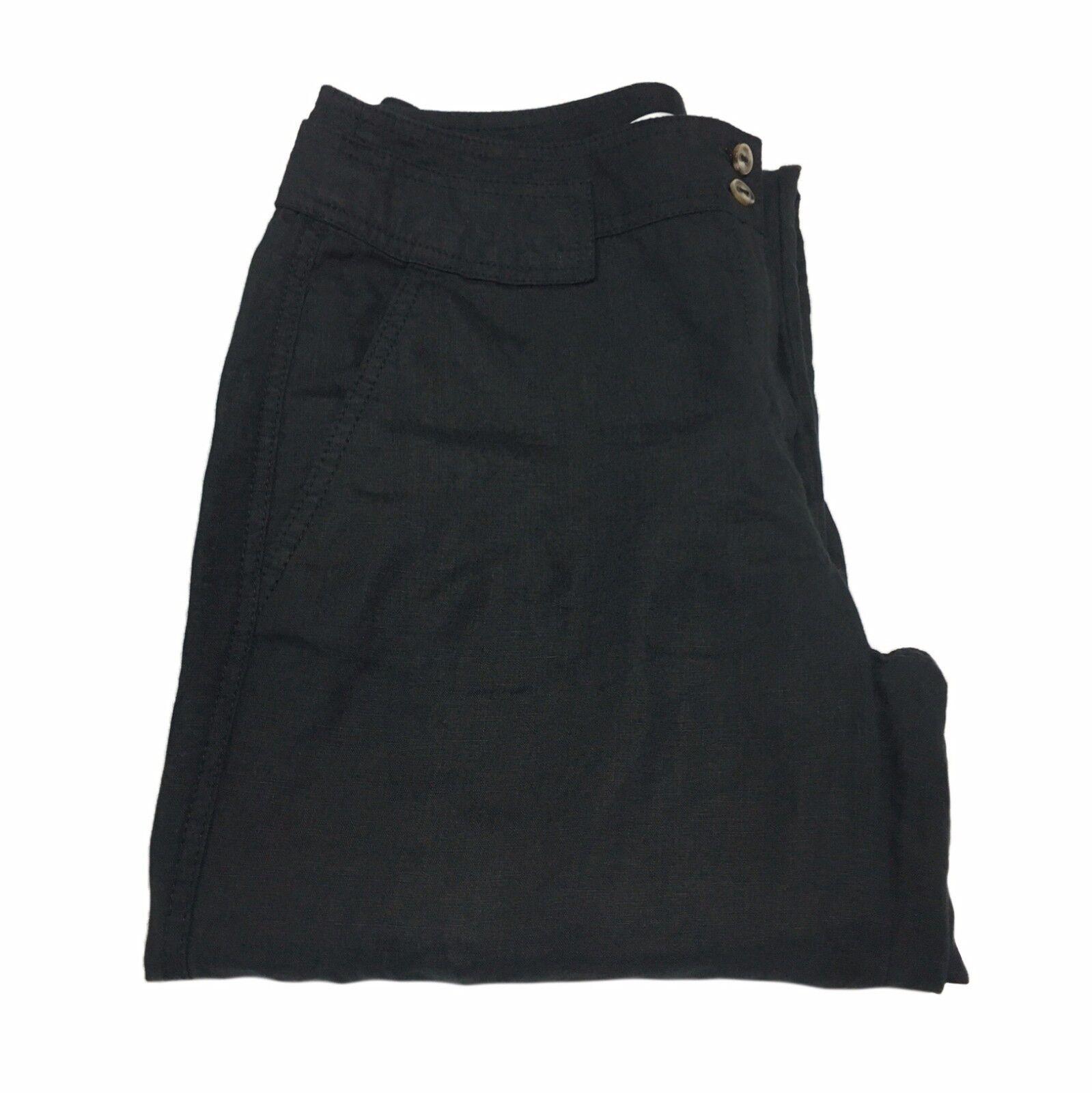 MARELLA Damenhose schwarz Möglichkeit um es zu nehmen up Knie 100% Leinen