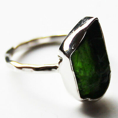 100% 925 Solid Sterling Silver Green Chrome Diopside Rough Stone Ring - Size 7