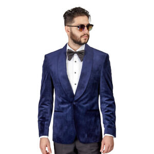 f49adeb45 Details about Tuxedo Jacket Mens Slim Fit Navy Velvet Dinner Blazer Shawl  Lapel 1 Button AZAR