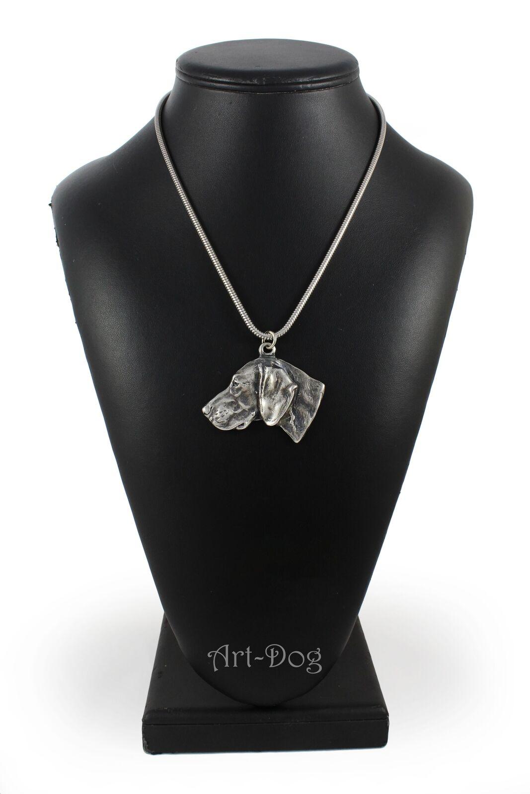 Weimaraner - Silber plaqué collier sur une cordon en en en Silber Art Dog FR fe11c1