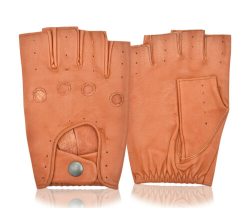 Chauffeur Driving Gloves Half Finger Real Sheep Soft Quality Leather Retro Style