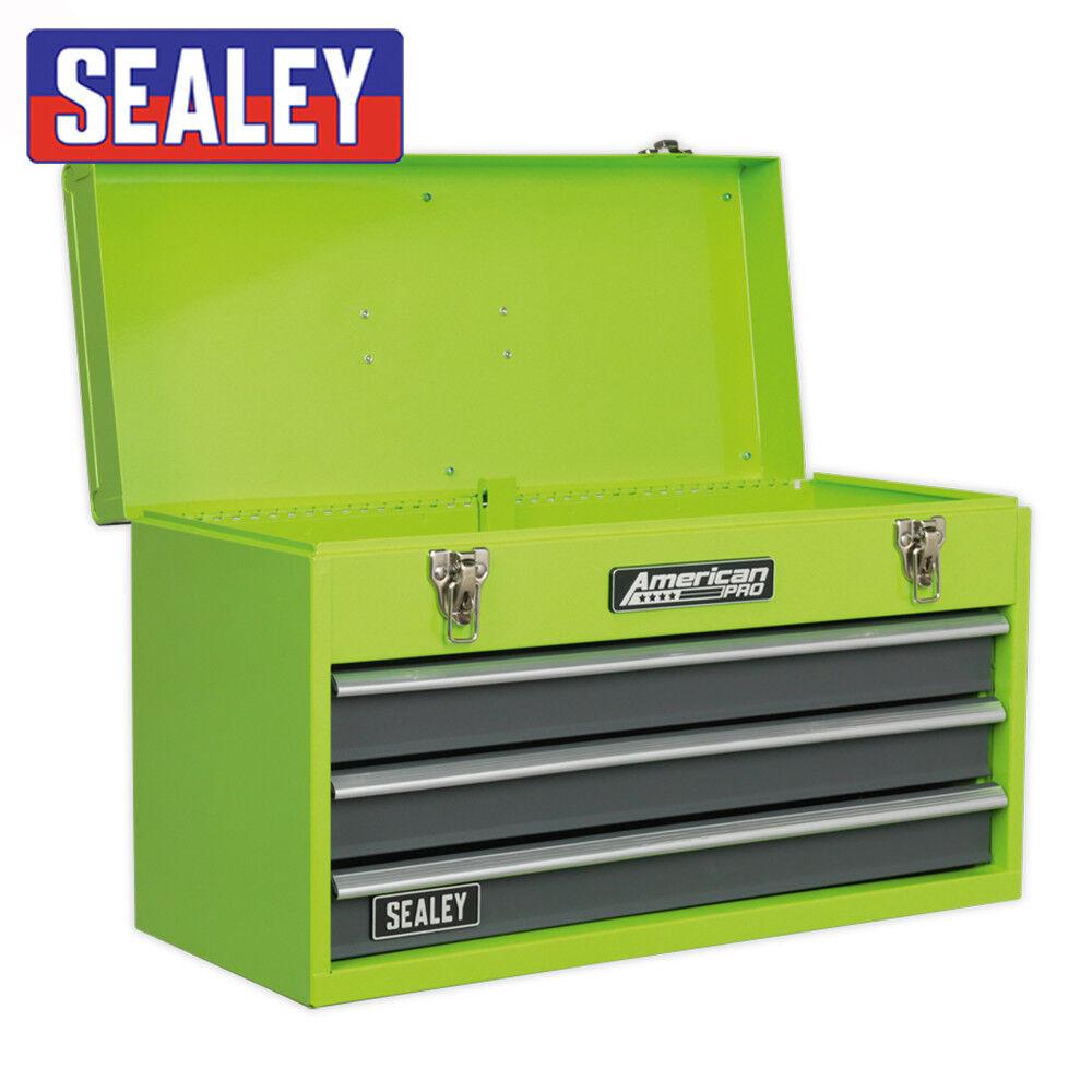Sealey Ap 9243 bbhv 3 Cajón Verde Portátil Caja de herramientas con guías del rodamiento de bolitas