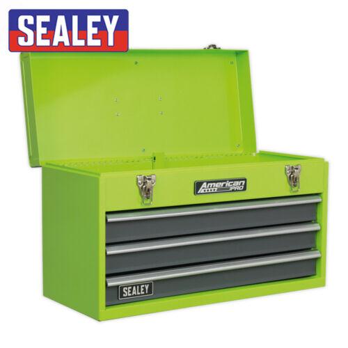 SEALEY AP 9243 BBHV 3 Tiroirs Portable Vert Outil Poitrine Avec Roulement à Billes Glissières
