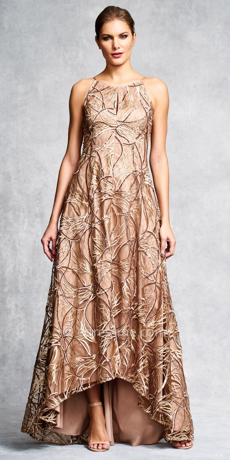 Aidan Mattox Sequin Embroidered Lace & Silk golden High-Low Gown - NWT Sz 2