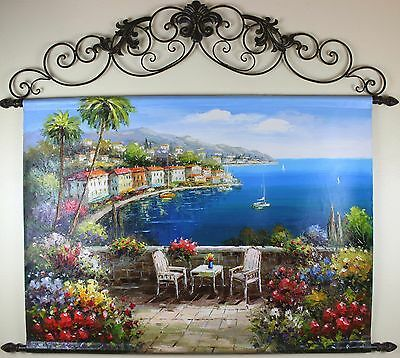 """Mediterranean Coast,  Oil Painting Tapestry with Rods 48x55"""" FREE SHIPPING"""