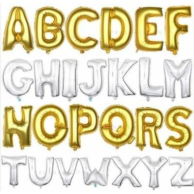 """16"""" Silver/Gold Foil Balloons - Alphabet (Letter)/Number Birthday Weding Party"""