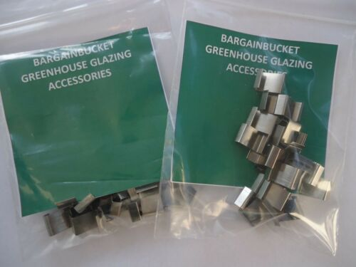 50 GREENHOUSE GLASS HOLDING OVERLAP METAL CLIPS 2 x 25 PER PACKS