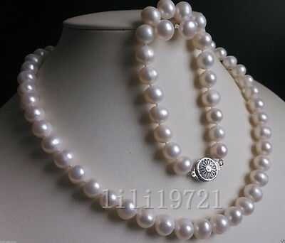 New 9-10MM White Freshwater Cultured Pearl Necklace Bracelet Earrings Set