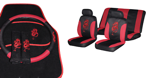 Image Is Loading 15Pcs DRAGON CAR SEAT COVERS FLOOR MAT SET