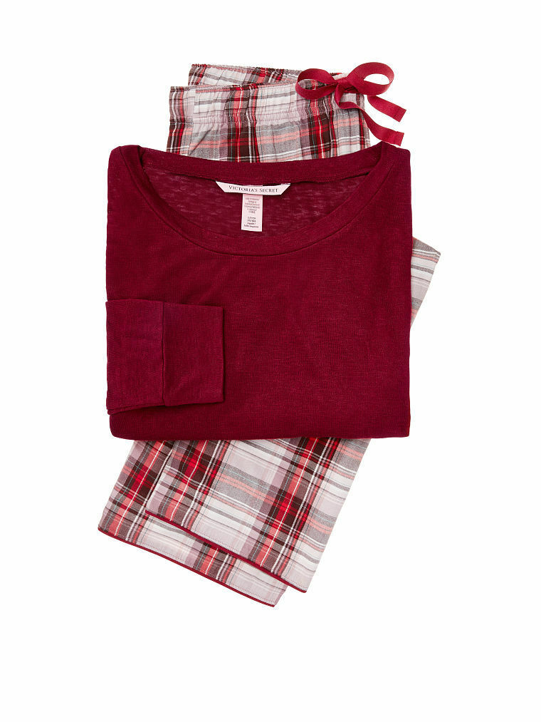 New Victoria's Secret Flannel Pajamas Lounge PJ Set Redwood Plaid XS