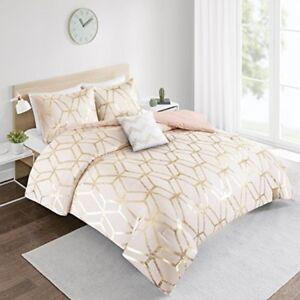 Cute Twin Comforter Set Gold Clearance For Teen Girl Women Dorm Bedding Pink New Ebay