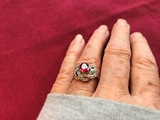 BEAUTIFUL OVAL RED RUBY RING SIZE 7.5 WITH WHITE CZ'S IN SS925