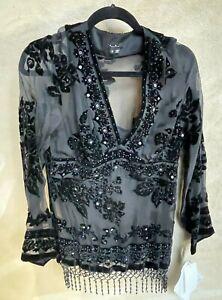 E.C.I. New York Sheer Sequin Long Sleeved Black Blouse Size 10 NEW