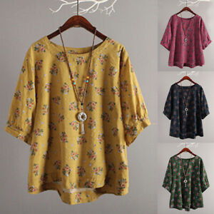 7b000100106 Women Summer Tunic Tops Ladies Cotton Linen Floral T-Shirt Blouse ...