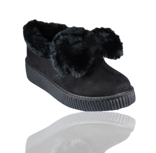 WOMENS LADIES FLAT SUEDE FUR TRAINERS SNEAKERS BOW POM POM SHOES BOOTS SIZE 3-8