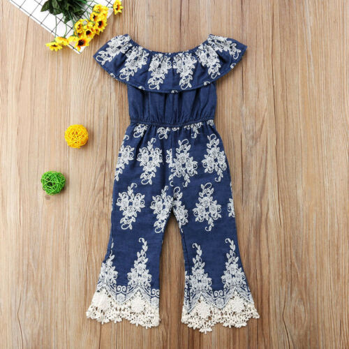 Toddler Baby Girl Floral Embroidery Lace One Piece Romper Jumpsuit Kids Dress CA