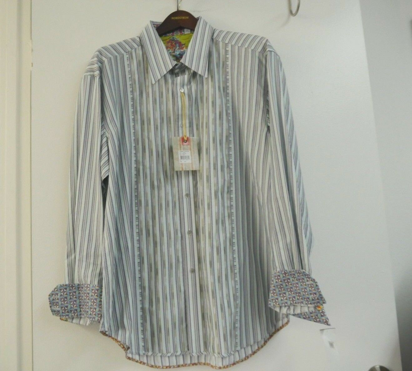 Nordstrom Robert Graham Grün Grau Lisbon EmbroideROT Striped Shirt2XL 258