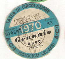 GENNAIO 1970 VECCHIO BOLLO ACI AUTO TASSA DI CIRCOLAZIONE MOTO MOTOCICLI VESPA