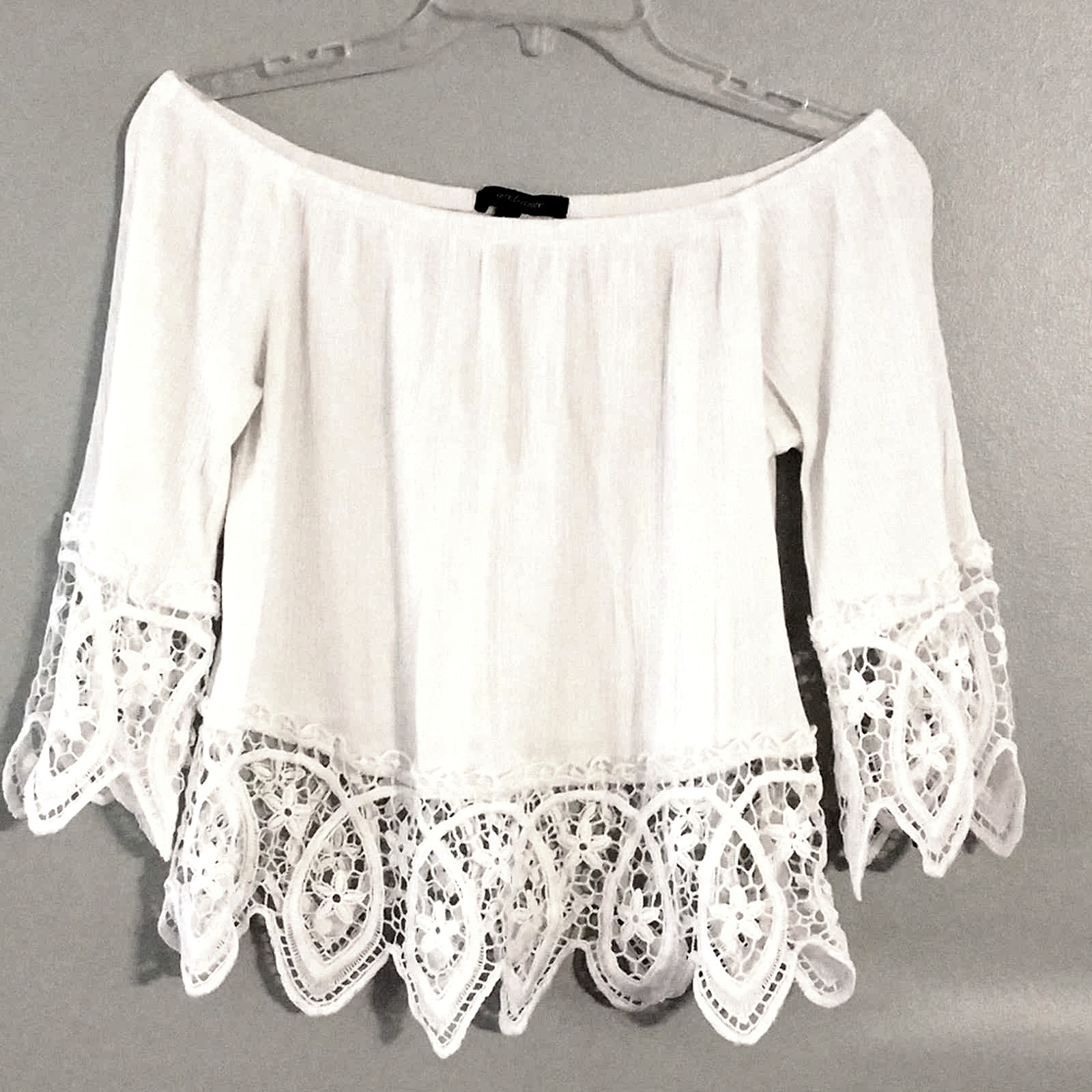 Ambiance White Lacey Fairycore crop top - image 1