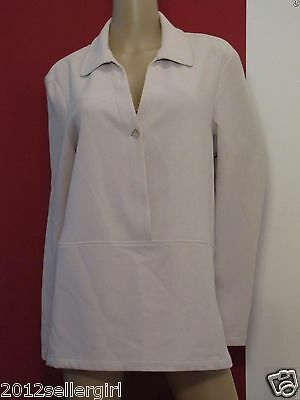MAGASCHONI NEIMAN MARCUS BEIGE PULLOVER BUTTON V-NECK CAREER JACKET TOP SZ XL