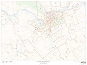 Greater Ottawa Gatineau Postal Code FSA Laminated Wall Map MSH - Gatineau map