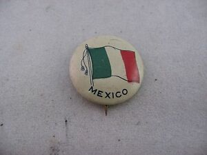 Interesting Antique Vintage COUNTRY FLAG Pin Pinback: MEXICO FLAG